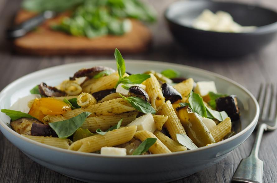Pasta aux légumes et crème de carottes